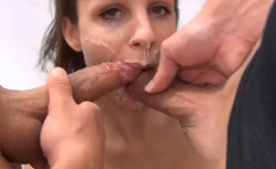 Cum Filled Mouth Double Blowjob – Hot Girl Gives a Double Barrel Blowjob, Gets DP Fucking and Sucks Both Cock With Cum As Lube