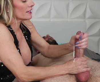 Double Handjob Using Cum As Lube Hot Blonde Milf Allura Skye Strokes Two Cocks
