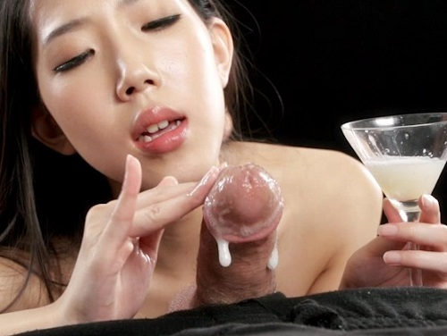 Rio Kamimoto Collects Lots of Cum for An Extra Sloppy Handjob SpermMania Cum As Lube Sloppy Seconds Handjob