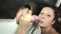Gloryhole Sloppy Seconds Handjob Cumlube Hot Dirty Girl At The GloryHole In Swinger Club